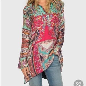 JOHNNY WAS long sleeve floral silk blouse! size XL